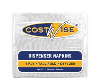 Costwise' 1 Ply Dispenser Napkins, Tall E-Fold, White - Castaway