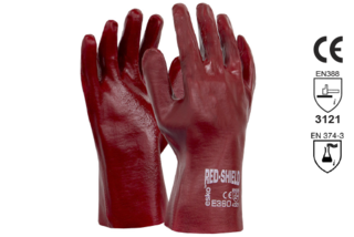 PVC Single Dipped Gauntlet Glove 27cm - Esko Red Shield