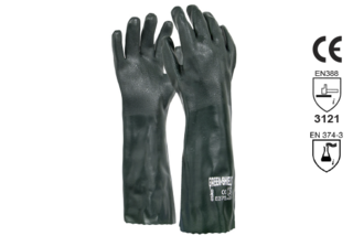 PVC Double Dipped Gauntlet Glove 45cm - Esko Green Shield