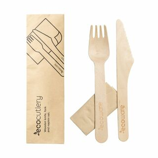 Wooden Knife, Fork and Napkin Set - Ecoware