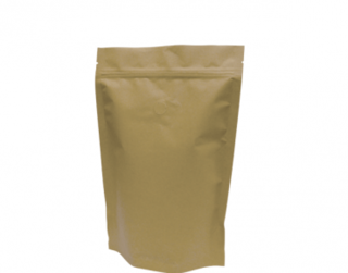 500g Stand-Up Coffee Pouch, Rip-Top & Resealable Zipper, Brown Kraft - Castaway