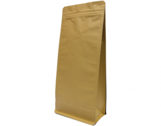 1kg Box Bottom Coffee Bag, Resealable Zipper, Brown Kraft - Castaway