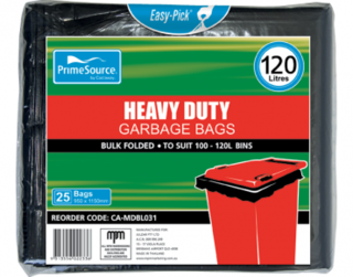 PrimeSource' 120L  Garbage Bags, Pack, Bulk Folded - Castaway