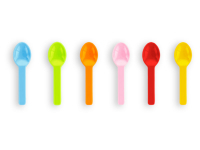 3in RCPLA compostable ice cream spoons - mixed colours - Vegware - Pack or Carton
