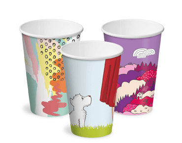 12oz Creative Collection Single Wall Paper Hot Cup w/Classic Lid (3 designs) - Castaway