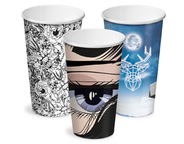 16oz Creative Collection Single Wall Paper Hot Cup w/Classic Lid (3 designs)