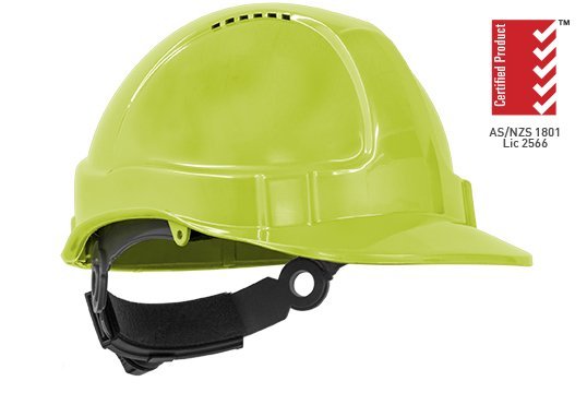 TUFF-NUT' Ratchet  Vented Hard Hat, NEON YELLOW - Esko