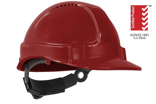 TUFF-NUT' Ratchet  Vented Hard Hat, RED - Esko