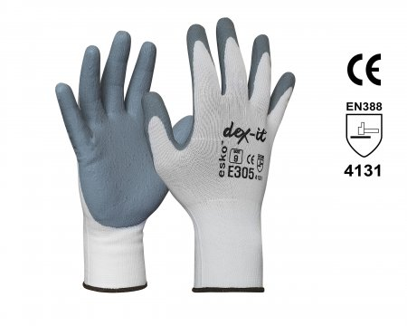 DEX-IT' Grey Nitrile Foam palm coated with white nylon liner - Esko