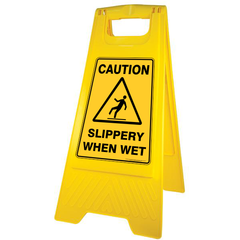 Gala A-Frame Safety Sign - Slippery When Wet Yellow