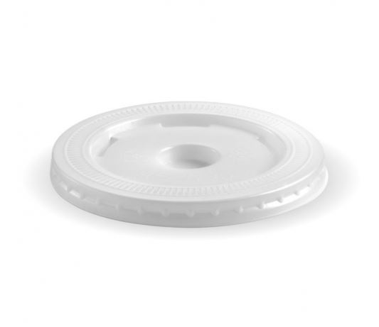 90mm PLA large lid - straw slot - fits all 90mm cups - clear - BioPak