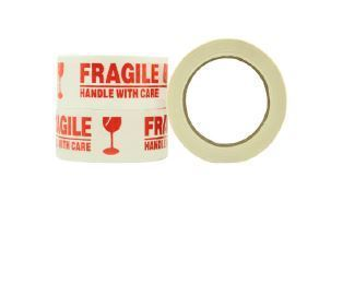 Message Tape Fragile - White/Red, 48mm x 100m x 50mu - Matthews