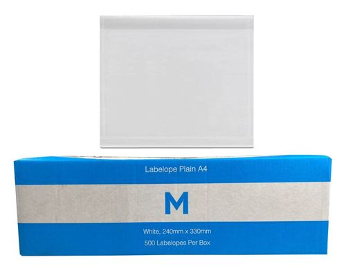 Adhesive Labelope Plain A4 - White, 235mm x 332mm - Matthews